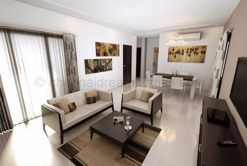 3 BHK Apartment - Living area